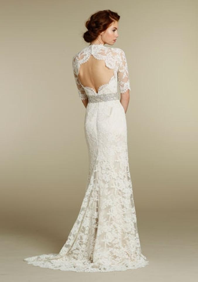 Jim Hjelm Ivory Alencon Lace Over Champagne Charmeuse 8211 Bridal Gown Sleeve Train 0 2 4 Traditional Wedding Dress Size XS