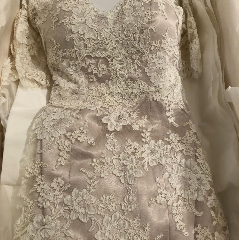 2d211a743929 Jim Hjelm Ivory Alencon Lace Over Champagne Charmeuse 8211 Bridal Gown  Sleeve Train 0 2 4. 123456789