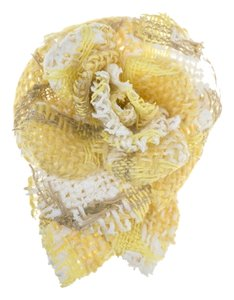 Chanel Chanel Yellow Tweed Camellia Floral Brooch