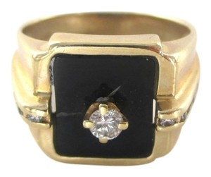bd 14KT SOLID YELLOW GOLD MEN RING SZ 8.5 BLACK ONYX 11 DIAMONDS .22 CARATS 6.5 G