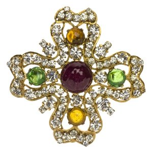 Chanel Chanel Vintage Clover Gripoix Brooch