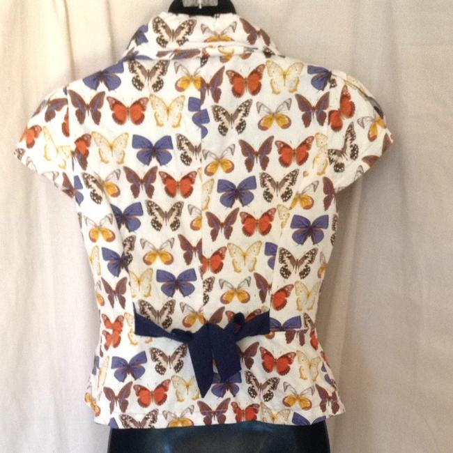 Anthropologie Top Tan Orange Brown Blue Butterflies