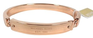 Michael Kors New! Michael Kors Heritage Plaque Rose Gold Tone Bangle Bracelet MKJ3841