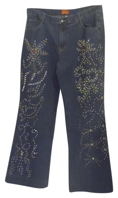 Item - Blue Embellished Trouser/Wide Leg Jeans Size 16 (XL, Plus 0x)