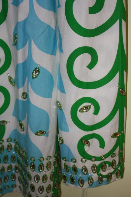 Tory Burch Top White/Turquoise/Kelly Green