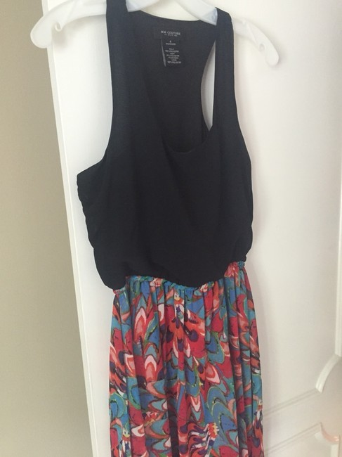 Black With Florals Maxi Dress by MM Couture