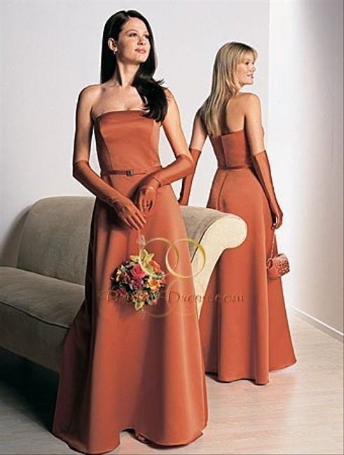 Item - Burnt Orange Satin Style 6123 Casual Bridesmaid/Mob Dress Size 10 (M)