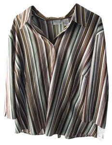 Covington Stripes Green Brown 24-26w Button Down Shirt Green, Brown, Tan