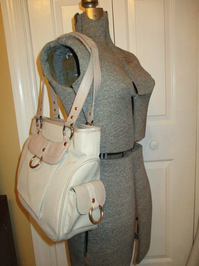 Maxx New York Leather Satchel Tote in beige