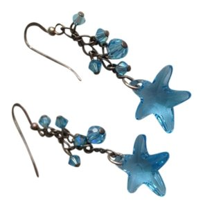 Other Dangly Blue Crystal Starfish Earrings