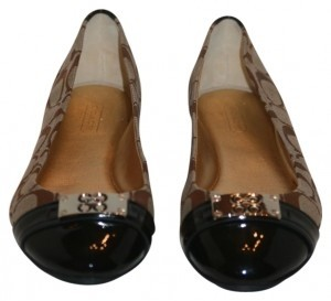 Coach Khaki with brown patent Flats