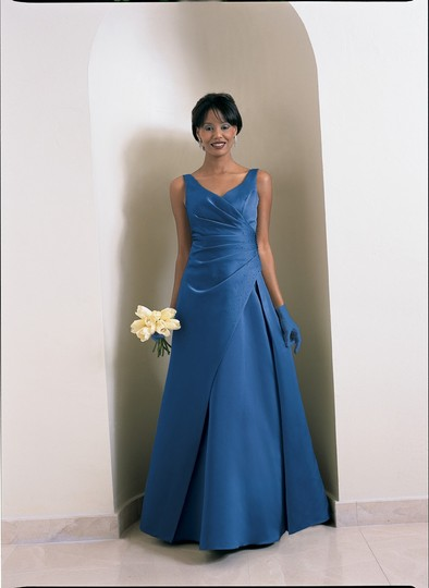 Alfred Angelo Indigo Blue Satin Style 6716 Casual Bridesmaid/Mob Dress Size 10 (M)