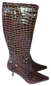 Diego di Lucca Faux Patent Patent Leather Tall Career Dress Brown Boots