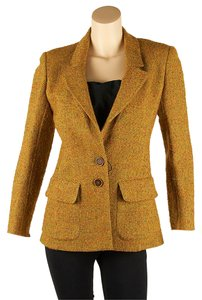 Valentino Geniune Wool Yellow Multi-Color Blazer
