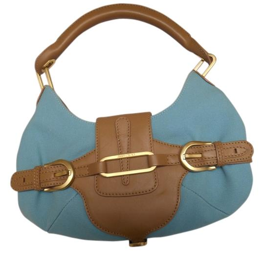 Preload https://item2.tradesy.com/images/jimmy-choo-turqouise-tan-blue-canvas-and-leather-shoulder-bag-3630196-0-0.jpg?width=440&height=440