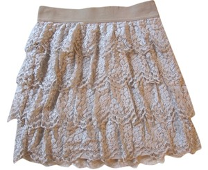 Ann Taylor Tiered Lace Mini Mini Skirt Nude