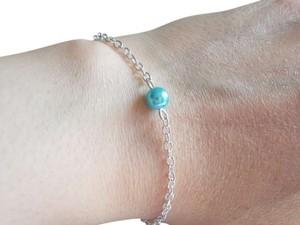 Single Glass blue Pearl Bracelet Jewelry