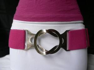Other Women Waist Stretch Bright Pink Hip Belt Silver Buckle One