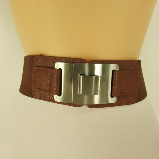 Other Women Hip Brown Waist Fashion Belt Silver Metal Plate Clasp Buckle -