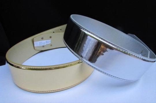 Other Women Belt Fashion Silver Gold Bronze Wide Full Faux Leather 28-32