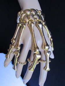 Other Women Hand Chain Gold Skull Fingers Metal Skeleton Fashion Slave Bracelet Ring