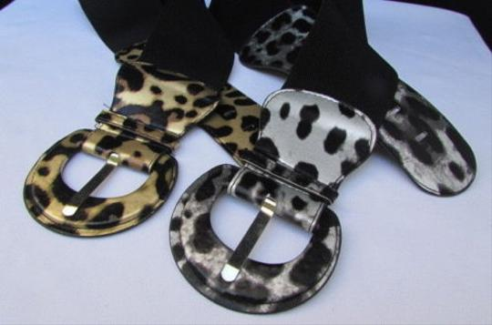 Other Women Elastic Fashion Belt Leopard Zebra Silver Gold White Sizes