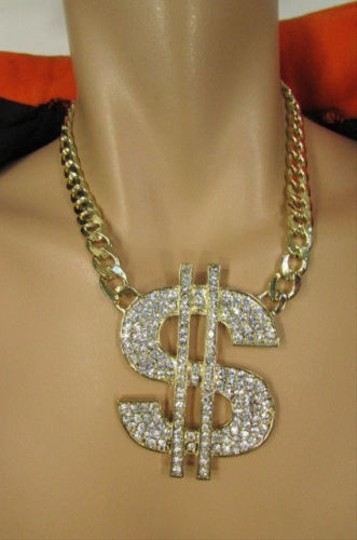 Other Men Silver Gold Metal Chains Fashion Necklace Big Dollar Sign Pendant