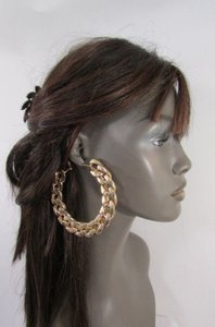 Other Women 4 Big Chunky Thick Gold Metal Chains Fashion Earrings Set Hook