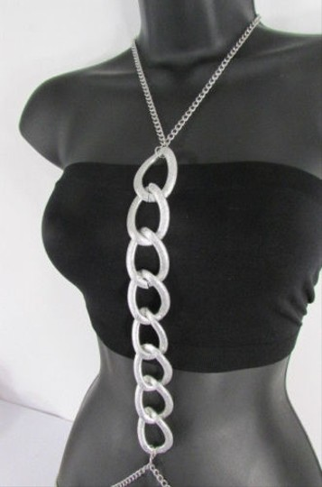 Other Women Silver Body Chain Big Chunky Links Long Necklace Fashion Jewelry