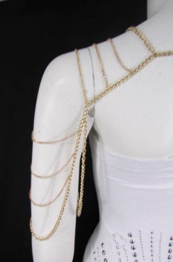 Other Women Gold Metal One Side Long Shoulder Body Chain Necklace Fashion Jewelry