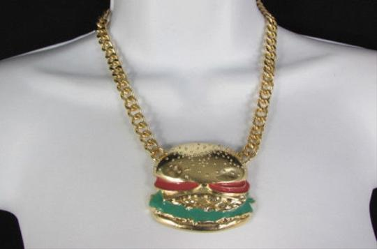 Other Women Gold Metal Chain Hip Hop Fashion Necklace Hamburger Pendant Earrings