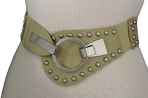 Other Women Waist Hip Elastic Fashion Belt Studs Silver Hook Beige Light Pink
