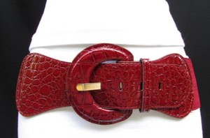 Women Fashion Stretch Belt Dark Red Burgundy Low Hip High Waist Faux Leather