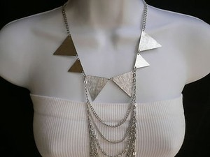 Women Silver Fashion Necklace Multi Waves Big Spikes Metal Body Chain Jewelry