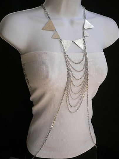Other Women Silver Fashion Necklace Multi Waves Big Spikes Metal Body Chain Jewelry