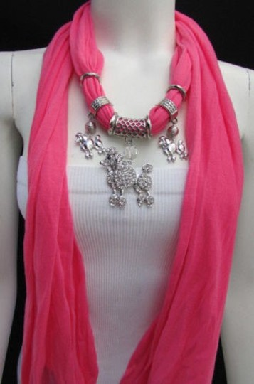 Other Women Fashion Necklace Fabric Scarf Big Poodle Dog Pendant Pink Black Blue