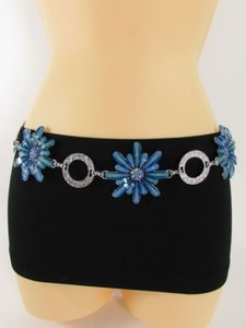Women Belt Silver Metal Chain Hip Waist Pink Blue Yellow Black Flowers