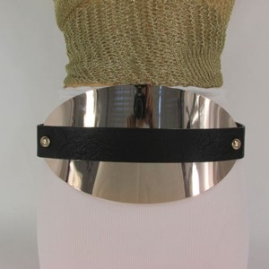 Women 5.5 Wide Gold Big Metal Plate Belt Hip High Waist Black Beige