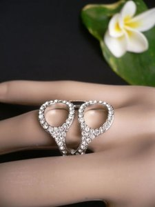 Other Women Silver Metal Scissors Clear Rhinestones Trendy Fashion Rings One