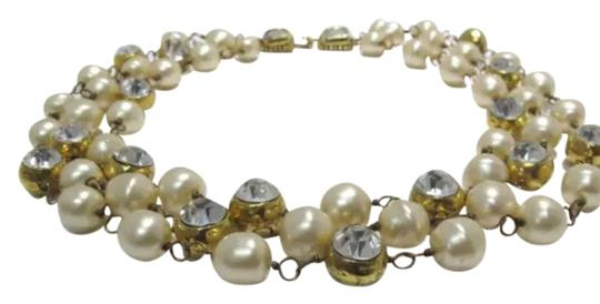 Chanel Vintage Chanel 1970s Yellow Gold Tone, Pearls And Crystals Triple Strand Necklace Made In France