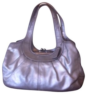 Coach Ergo Leather Pleated Satchel in Silver