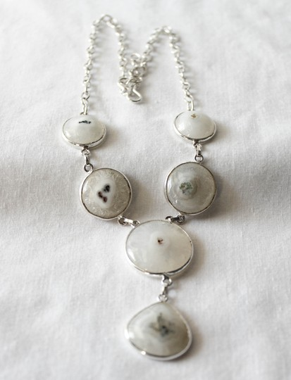 Other Handmade Agate Geode Gemstone Drape Necklace Set in Sterling Silver