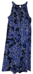 INC International Concepts short dress Blue/White/Tan Empire Waist Keyhole on Tradesy