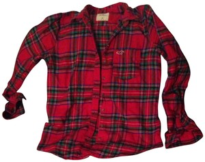 Hollister Button Down Shirt Red Plaid