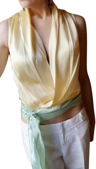 Zenobia Silk Sexy Cropped Sleeveless Low-cut Top Light Yellow & Green