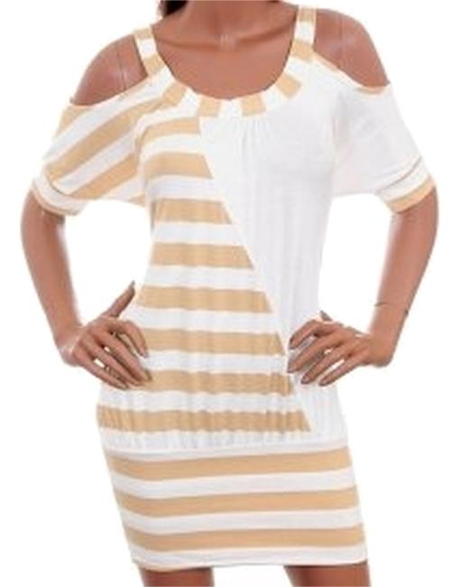 Other short dress tan off white on Tradesy