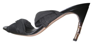 Gucci Silk Leather Pleated Bamboo Black Sandals