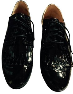 Enzo Angiolini Oxford Fringe Sale Black Patent Leather Flats
