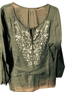 Other Pleasant Embroidered Bohemian Top Green