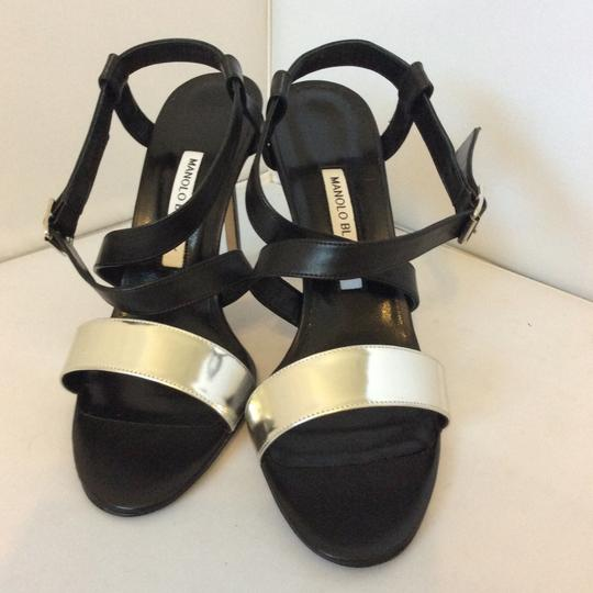 Manolo Blahnik Black, Silver Sandals